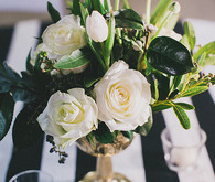 Black, white and green centerpiece