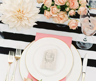 Pink, black and gold place setting