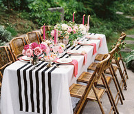 Pink, black and gold dinner party tablescape