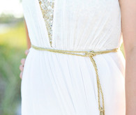 Wedding dress with gold belt