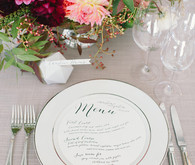 White round menu place setting