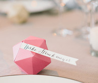 Pink geometric escort cards