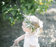 Flower girl with olive branch crown