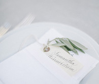 White olive branch place setting