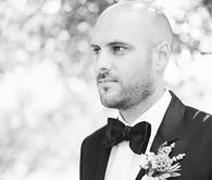 Black and white groom photo