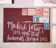 Marsala envelope with vintage stamps