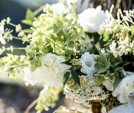 White wedding decor and flowers