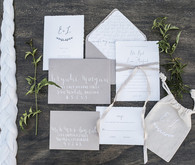 White and grey wedding invitations