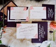 Purple and pink wedding invitations