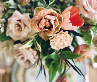 Garden rose and tulip floral centerpiece
