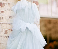 Pale blue tulle wedding dress