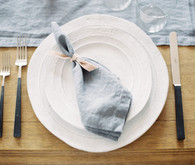 Intimate blue & metallic wedding place setting