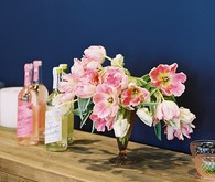 Modern pink bridal shower florals