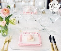 Modern pink bridal shower place setting