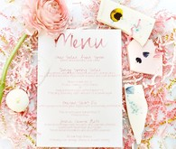 Modern pink bridal shower menu