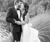 Rustic and romantic vineyard wedding portrait