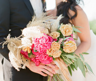 Pink and gold bridal bouquet