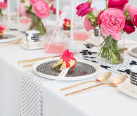 Pink, black and white place setting
