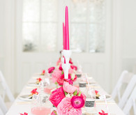 Modern pink, black and white tablescape