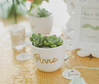 Gold and mint escort favor