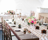 Beige chevron tablescape