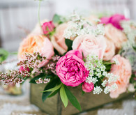 Gold and pink floral centerpiece