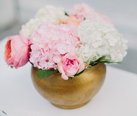 Pink and gold centerpieces
