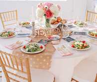 Pink, gold and white tablescape