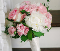 White peony and white rose bouquet
