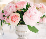 Pink peony centerpiece with silver vase