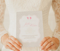 Silver and pink wedding invitation