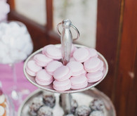 Pink and white dessert table