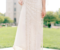 Beaded fringe wedding dress