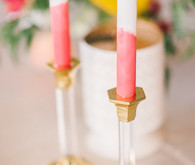 Pink and gold modern candlesticks