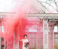 Smoke bomb bridal portrait