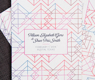 Modern geometric and colorful wedding invitation