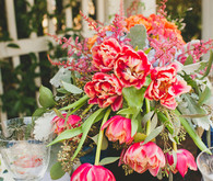 Pink and green floral centerpiece