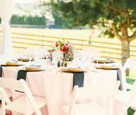 Outdoor light pink and blue tablescape