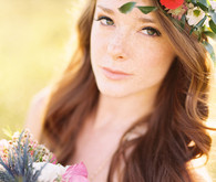 Bride with colorful flowercrown
