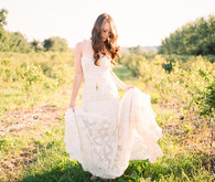 Outdoor wedding dress portrait