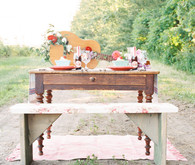 Strawberry farm wedding tablescape