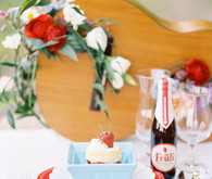 Strawberry farm wedding place setting