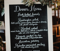 Chalkboard dinner menu in calligraphy