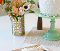 Midcentury modern cake mint green stand