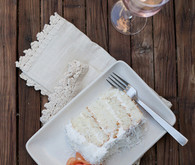 Coconut white cake and rose