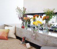 Midcentury modern bridal shower lounge area