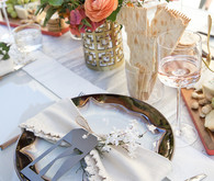 Midcentury modern bridal shower place setting