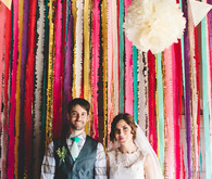 Colorful garland backdrop and portait