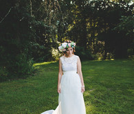 Outdoor bride portrait with flower crown
