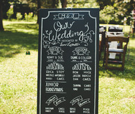 Camp themed wedding chalkboard program